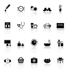 Health behavior icons with reflect on white vector image