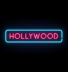 hollywood neon sign bright light signboard vector image