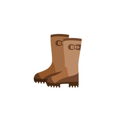 Icon with pair brown firefighter rubber boots vector