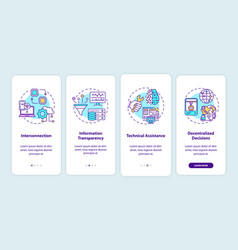 Industry 40 principles onboarding mobile app page vector