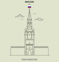 kremlin spasskaya tower in moscow vector image