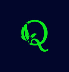 Letter q leaf nature eco green logo template vector