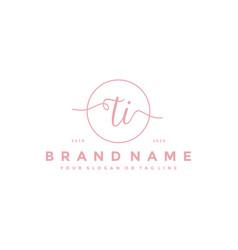 Letter ti feminine logo design vector