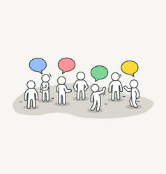 little white people talk with chat bubbles vector image