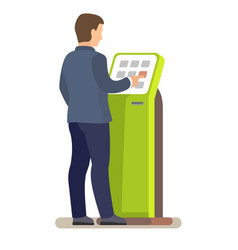 Man using electronic self service payment system vector