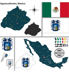 Map of Aguascalientes vector image