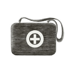 Medical first aid bag hand drawing vintage style vector