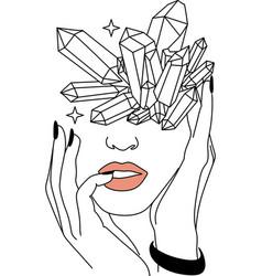 Minimal line art woman crystal head line drawing vector