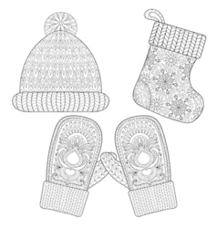 Mittens in zentangle style vector