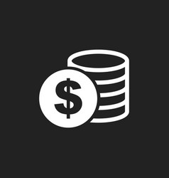 money icon on black background coins in flat vector image