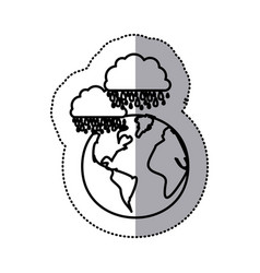 Monochrome sticker contour of cloud with rain over vector