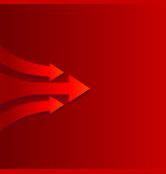 moving forward arrow on red background vector image