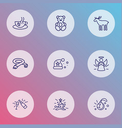 new icons line style set with champagne scarf vector image