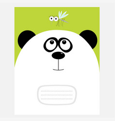 notebook cover composition book template panda vector image