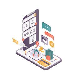 online shopping app isometric vector image