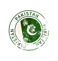 Pakistan sign vintage grunge imprint with flag on vector