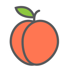 Peach line icon fruit and diet graphic vector