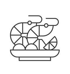 Prawn or shrimp cocktail seafood outline icon vector