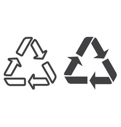 recycle symbol line and glyph icon eco vector image