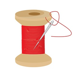 Red thread wooden spool vector image