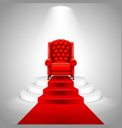 Royal armchair on stairs with red carpet vector