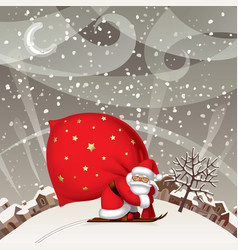 santa claus by ski with a red big sack against vector image