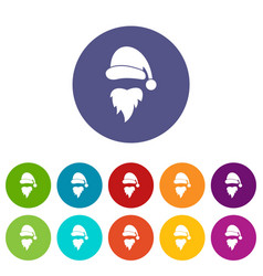 santa claus hat and beard set icons vector image