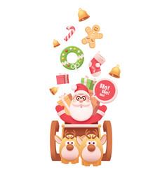 santa claus with reindeers vector image