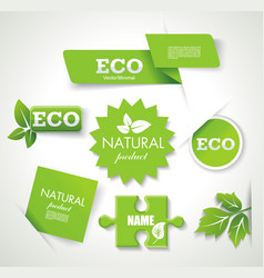 Set of eco green natural badges labels banners vector