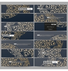 Set of modern banners Golden microchip pattern vector image