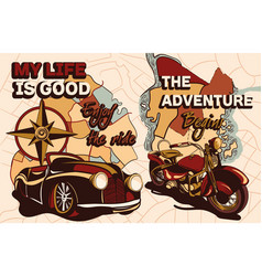 set old school travel posters with slogan vector image