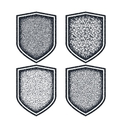 Shield icons set Black symbols vector image