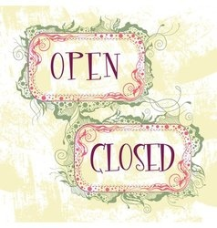 Signs open closed vector
