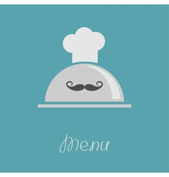 Silver platter cloche Chef hat with curl moustache vector