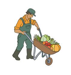 sketch coloured of farmer man vector image