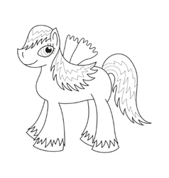 Sly fairy foal with wings coloring book page vector image