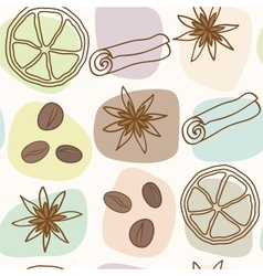 Spice and coffee seamless pattern vector