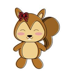 squirrel happy cute animal cartoon icon image vector image