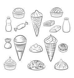 sweet food pictograms vector image