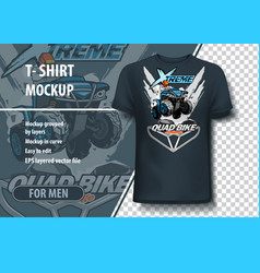 T-shirt mock-up template with atv quad bike vector