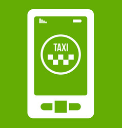 taxi app in phone icon green vector image
