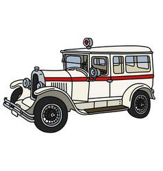 The vintage white ambulance vector