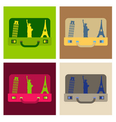 travel suitcase for camping tourism cartoon of vector image
