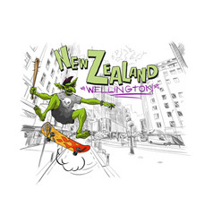 Troll jumps on a skateboard in the city wellington vector