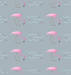 Tropical fish and flamingo seamless pattern vector