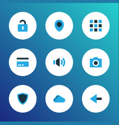 user icons colored set with payment camera vector image