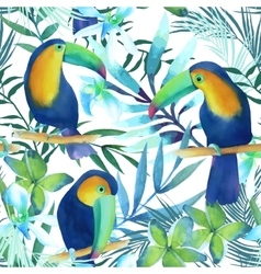 Watercolor seamless pattern with toucans vector image