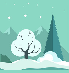 Winter landscape with trees and ground in snow vector