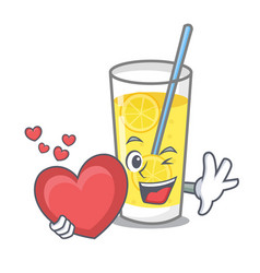 With heart lemonade mascot cartoon style vector