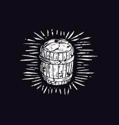 Wood barrel in linocut style vector